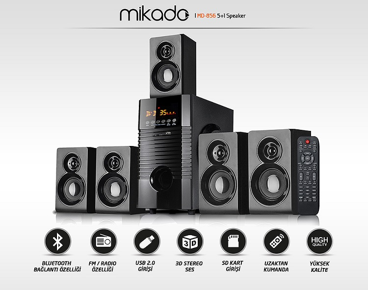 Mikado MD-856 5+1 Usb,Sd,Fm Bluetooth Speaker